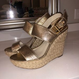 Gold Micheal Kors Wedges size 8